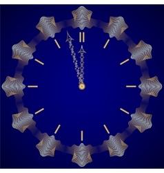 Abstract new year golden clock on dark blue vector