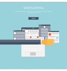 Flat web surfing background vector