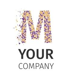 Alphabet particles logotype letter-m vector