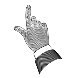 Hand with pointing finger in engraving style vector