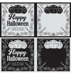 Vintage happy halloween greetings cards vector