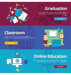 Set of flat design concepts for graduation vector