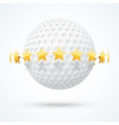 Golf ball with golden stars vector