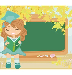 Green chalkboard with autumn leaves and schoolgirl vector