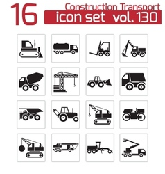 Black construction transport icons set vector