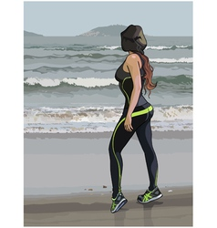 Woman in fitness wear on the seafront vector