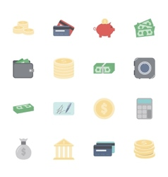 Money and financial flat icons set vector