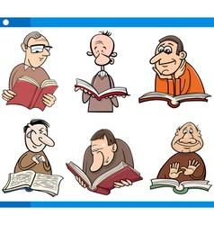 Readers characters set cartoon vector