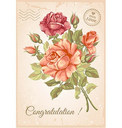 Rose postcard vector