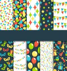 Set of 10 seamless bright celebration festive vector