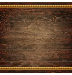 Dark wood texture with rope vector