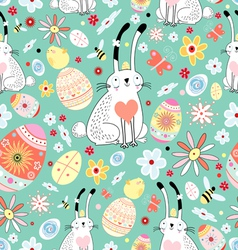 Floral texture easter bunnies and chicks vector