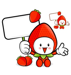 Strawberry mascot the right hand guides and the le vector