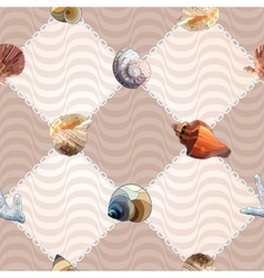 Seamless with sea shells and chains vector