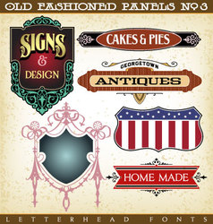 Old fashioned panels vintage labels 3 vector