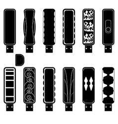 Flash drives silhouette set vector
