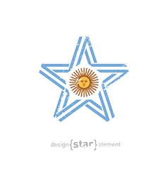 Star with argentina flag colors symbols and grunge vector