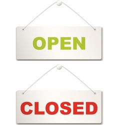 Open and closed door sign vector