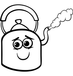 Kettle and steam coloring page vector