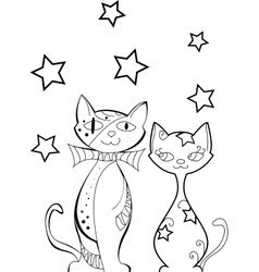 Set of cats silhouettes vector