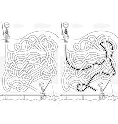 Fishing maze vector