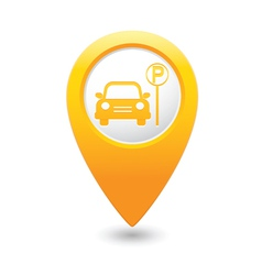 Car parking place icon on yellow pointer vector