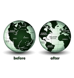 Planet earth before and after vector