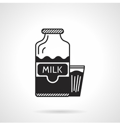 Milk bottle and glass black icon vector