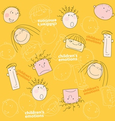 Children emotions seamless vector