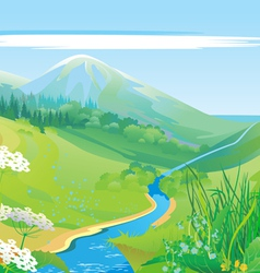 Lush grass country valley vector