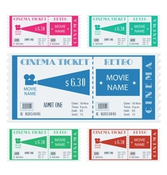 Retro cinema ticket vector