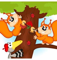 Squirrel on tree vector