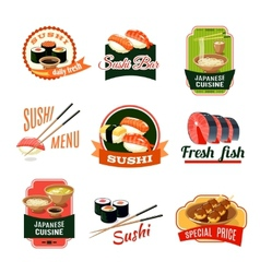 Asian food labels vector