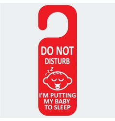 Hotel tag do not disturb with baby sleep vector
