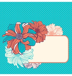 Greeting card with hand-drawn flowers vector