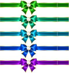Festive bows with diamonds and ribbons vector