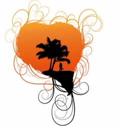 Romantic tropical scene vector