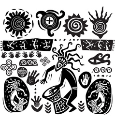 Primitive art silhouettes vector