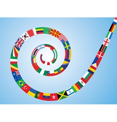 Spiral made of flags vector