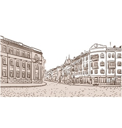 The ancient european street paved by a stone block vector