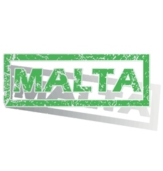 Green outlined malta stamp vector