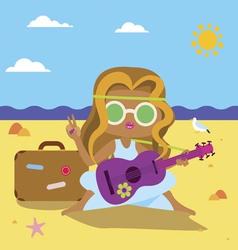 Hippie girl with guitar and suitcase at the sea vector