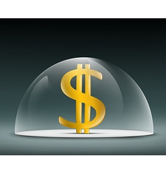 Dollar under a glass dome vector
