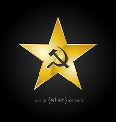 Gold star with socialist symbols vector