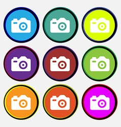 Photo camera icon sign nine multi-colored round vector