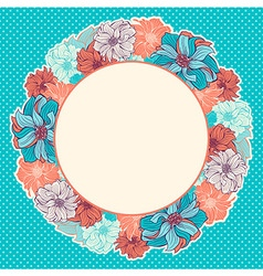 Greeting card with wreath of hand-drawn flowers vector