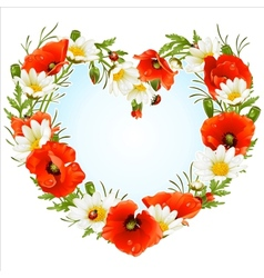 Flower frame in the shape of heart vector