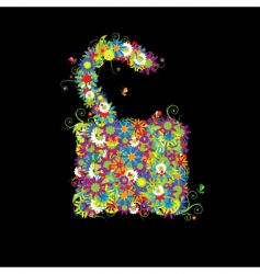 Open lock floral style vector
