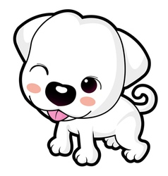A wink cute puppy mascot animal character design vector