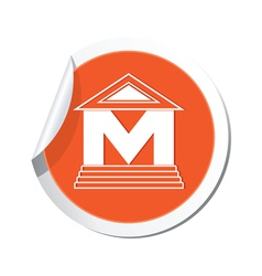 Museum icon orange sticker vector
